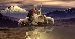 shepherd and lambs