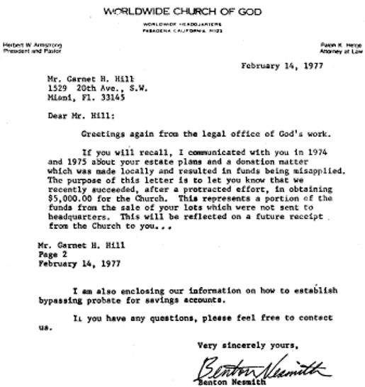 letter from legal office of WCG go Garnet Hill, 1977