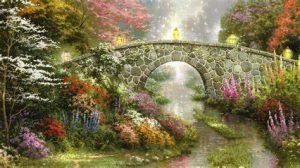 flower garden with bridge