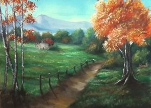 painting of path in meadow with trees in autumn