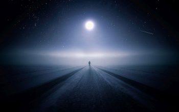 standing alone in moonlight
